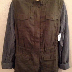 SOLD CASLON Olive Green Gray Cinched Waist Jacket